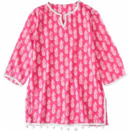 Cache-maillot caftan fille SnapperRock - fuchsia à motif ananas