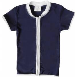 T-shirt enfant SnapperRock anti-UV à manches courtes - bleu marine/fermeture Éclair