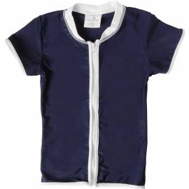 T-shirt enfant SnapperRock anti-UV à manches courtes - rayures bleu marine et blanc