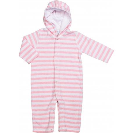 Combinaison pour bébé à manches longues SnapperRock en tissu-éponge - rayures rose clair