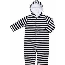 Combinaison pour bébé à manches longues SnapperRock en tissu-éponge - rayures bleu clair
