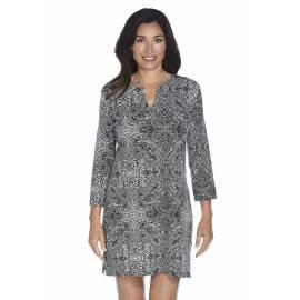 Robe tunique Oceanside femme UPF 50+, motifs floraux noir