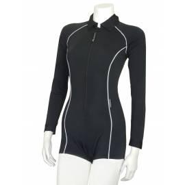 Combishort de bain femme une pièce anti-UV à manches longues, noire