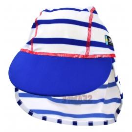 Casquette enfant anti-UV bleue, motif marinière bleu