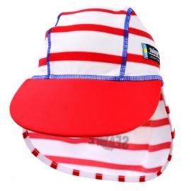 Casquette enfant anti-UV bleue, motif marinière rouge