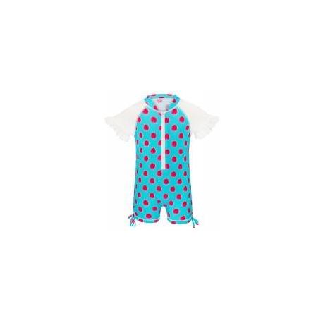 Combinaison à manches courtes turquoise, motif framboise