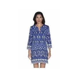 Robe tunique Oceanside femme UPF 50+, motifs floraux bleu
