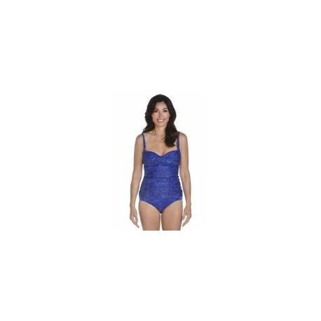 Tankini bandeau pour femme UPF 50+, bleu a motif