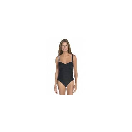 Maillot de bain bandeau ruché anti-UV pour femme UPF50+, noir