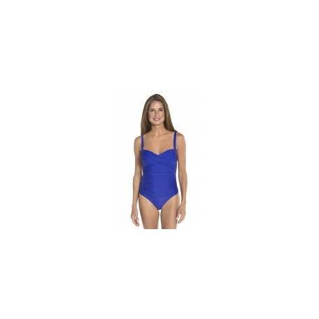 Maillot de bain bandeau ruché anti-UV pour femme UPF50+, bleu