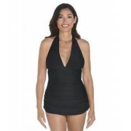 Maillot de bain ruché dos nu anti-UV pour femme UPF50+, noir