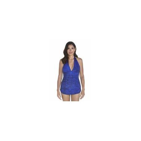Maillot de bain ruché dos nu anti-UV pour femme UPF50+, bleu