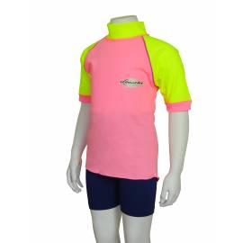 T-shirt manches courtes anti uv enfant - Rose/Jaune