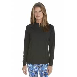 T-shirt de bain Manches Longues anti UV Femme Zip - Black