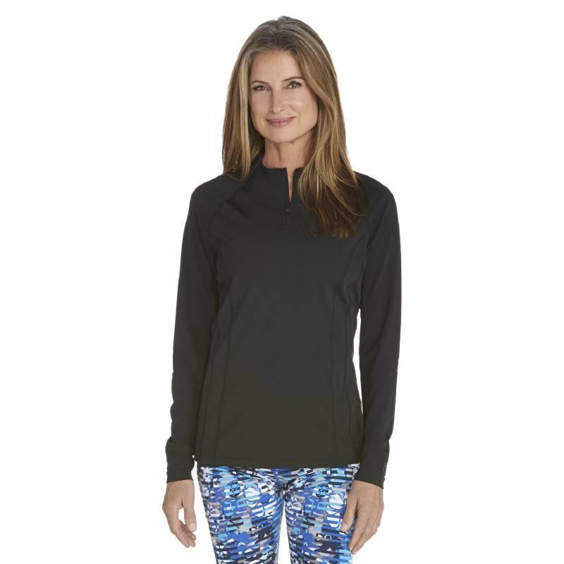 T-shirt de bain Manches Longues anti UV Femme Zip - Black - SODIFFUSION b7d7c793a062