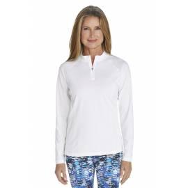 T-shirt de bain Manches Longues anti UV Femme Zip - White