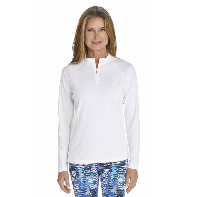 T-shirt de bain Manches Longues anti UV Femme Zip - White - SODIFFUSION d995bb1a77e1