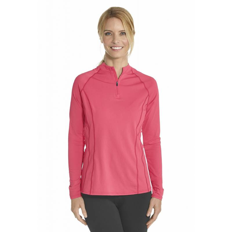 T-shirt de bain Manches Longues anti UV Femme Zip - Coral - SODIFFUSION 461e3ed2cd7c
