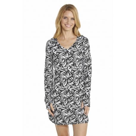 Robe de bain à capuche anti uv Femme - Black - SODIFFUSION e71ebe666084