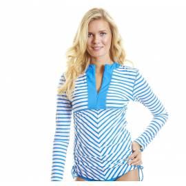 T-shirt de Bain Manches Longues Femme / Col V / Zip - Bleu à rayures