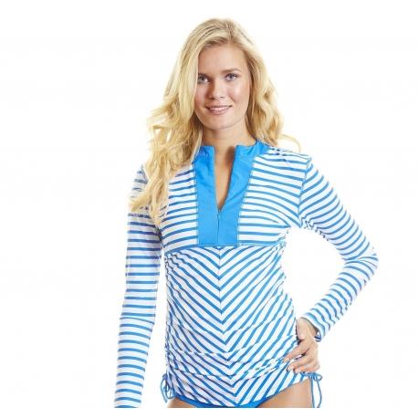 T-shirt de Bain Manches Longues Femme   Col V   Zip - Bleu à rayures ... fb1209be6d3f