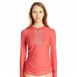 T-Shirt Manches Longues Femmes Anti Uv Rashguard - Corail Brodé