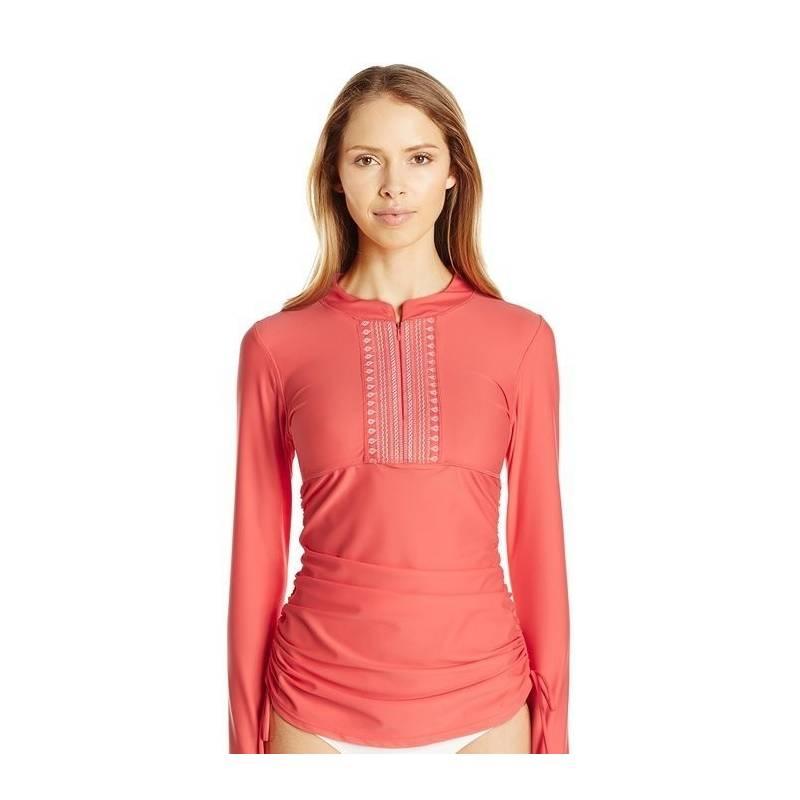 T-Shirt Manches Longues Femmes Anti Uv Rashguard - Corail Brodé ... b4ca9734dd83