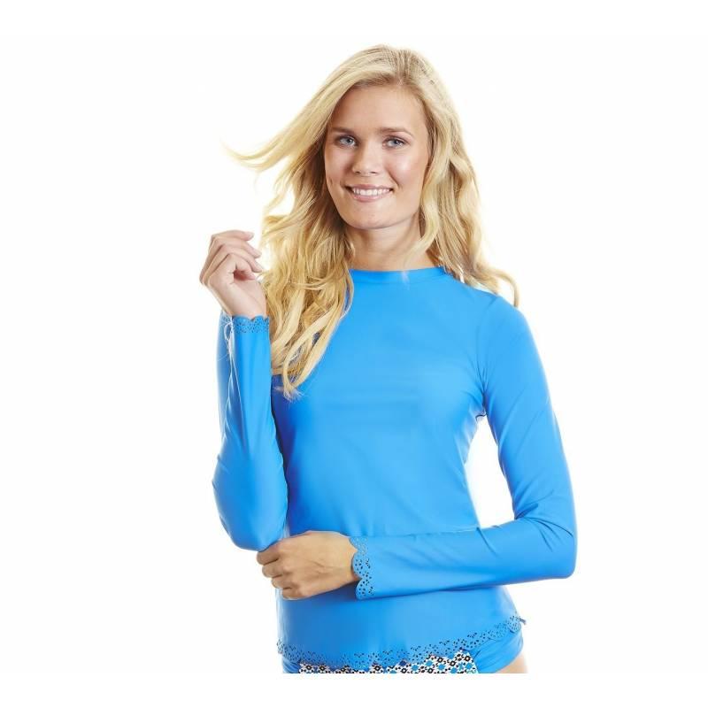 T-Shirt Manches Longues Femmes Anti Uv Rashguard - Bleu Cobalt ... d3444af6c3d5