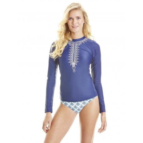 T-Shirt Manches Longues Femmes Anti Uv Rashguard - Bleu Brodé ... 06508bb42891