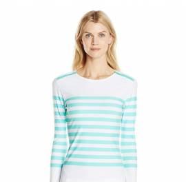 T-Shirt Manches Longues Femmes Anti Uv Rashguard - Rayé Bleu Ciel Zip Epaule