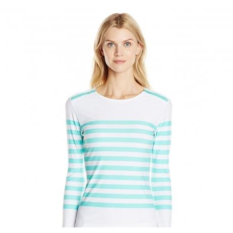 7a09caa104964 T-Shirt Manches Longues Femmes Anti Uv Rashguard - Rayé Bleu Ciel Zip Epaule
