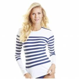 T-Shirt Manches Longues Femmes Anti Uv Rashguard - Rayé Marine Epaule Zip