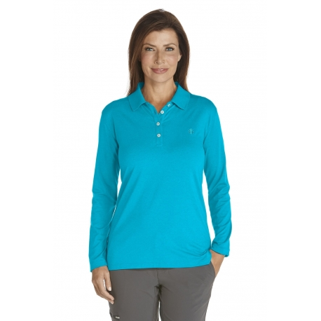 Polo Manches Longues Anti UV Femme - Slate/Azure Stripe