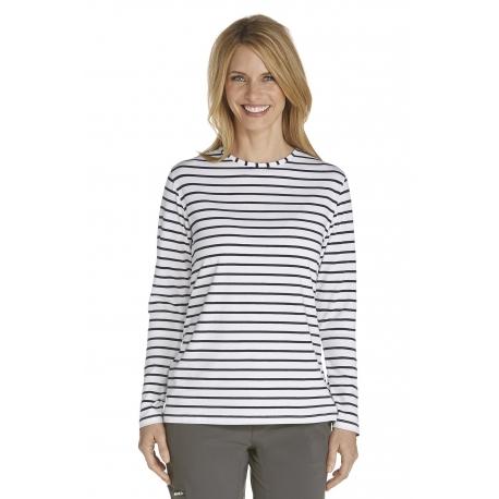 ZnO UV T-shirt Manches Longues Femme- navy/white stripe
