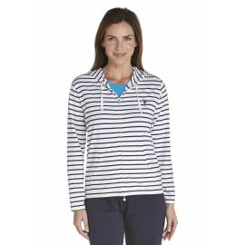 ZnO Sweat à capuche Femme- navy/ white stripe