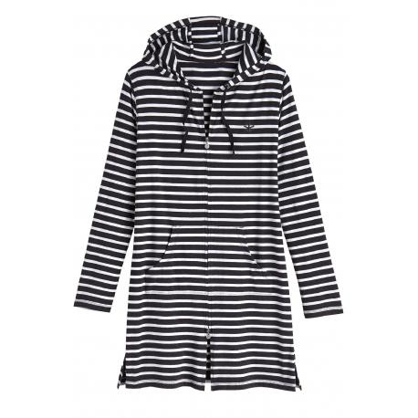 3a2c133050 Coolibar, Robe de plage à capuche Anti UV Femme Col V, Black/White