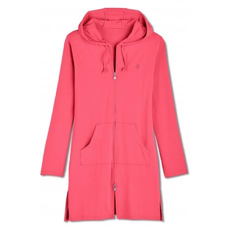 b5be088081 Coolibar, Robe de plage à capuche Anti UV Femme Col V , Coral