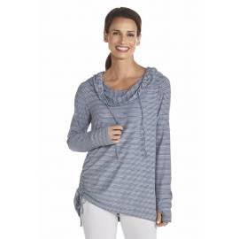 Sweatshirt fin à manches longues anti Uv Femme - DarkBlue/White