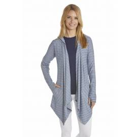 Gilet Long Femme Asymétrique Anti Uv - DarkBlue/White