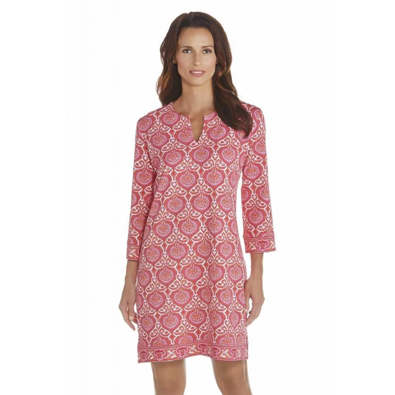 Coolibar Robe Tunique Femme Anti Uv Manches 3 4 Pink