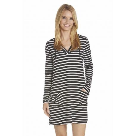 79b12ad37b Coolibar, Robe de plage à capuche Anti UV Femme Col V , Black/White