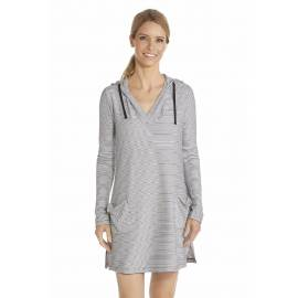Robe de plage à capuche Anti UV Femme Col V - White/Black