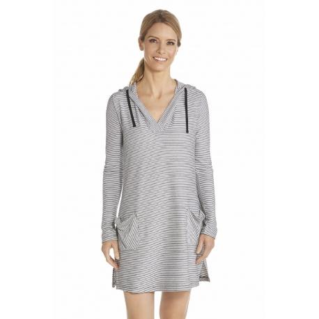 5b36ba2f65 Coolibar, Robe de plage à capuche Anti UV Femme Col V , White/Black