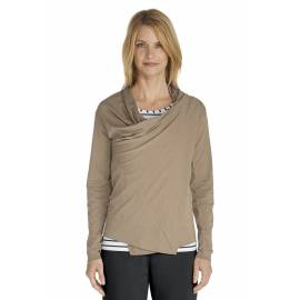 Gilet long fin Femmes ZnO couleur taupe