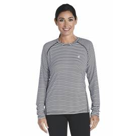 T-shirt Manches Longues Sport Anti UV - black/white stripe