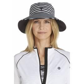 Chapeau anti UV Réversible pour Femme- black/white stripe