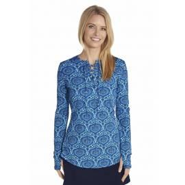 Chemise à lacet anti UV Femme - Blue
