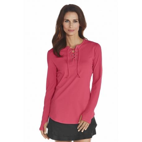 Chemise à lacet anti UV Femme - Coral