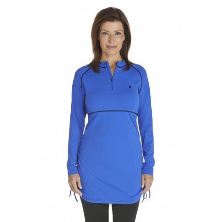 Tunique anti Uv à Zip Femme - Kobalt Blue