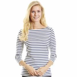 T-shirt anti Uv Femme Manches 3/4 Col Bateau - Bleu a rayures